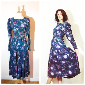 Laura Ashley Dress Blue Floral Corduroy Long Sleeve Belted Lightly Pleated Below Knee Dress Boho Charming Dress size 12