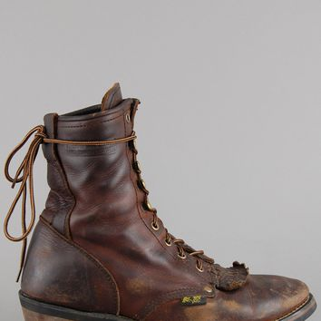 Ad Tec Lace Up Leather Ankle Roper Boots