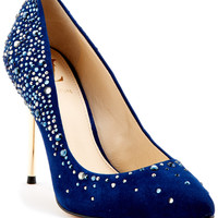 "Some of you have to get in on this: Vince Camuto ""Paola"" Crystal & Studded Suede Pump"