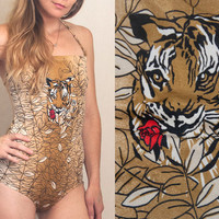 60s One-Piece Swimsuit | Retro Tiger Bathing Suit Size Small | Modest Swimwear Unique Strapless Halter Bodysuit | Boho Funky Cheetah Leotard