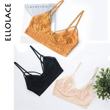 Ellolace Vintage Lace Bralette for Girl Camisoles Fashion Tank Tops Lingerie Female Crop Top Unpadded Floral Brassiere Intimates