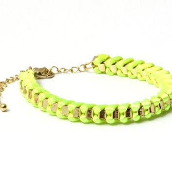 Neon Yellow Nylon Bracelet Chain BA31 Linked Friendship Braided Fluorescent Green Tie Dye Bangle Fashion Jewelry