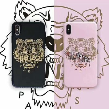 KENZO Tide brand couple classic bronzing tiger head print iphoneXS max phone case