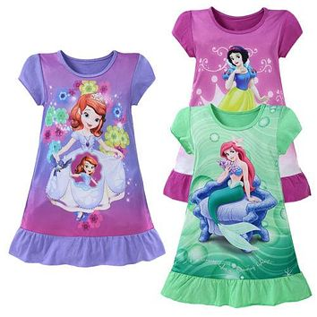 Dresses Cartoon Movie Mermaid 3-10Y Cartoon Baby Girls Cotton Straight Mini Cute Kids Clothing Summer Party Girl Dress