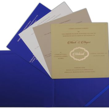 Blue Colored Unique Ganesha Wedding Card-KPC3941