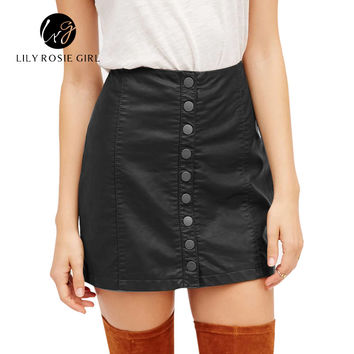 Black Casual Button High Waist Skirt A Line Button Slim Mini Skirt Preppy Single Breasted Autumn Women Skirt 90's New
