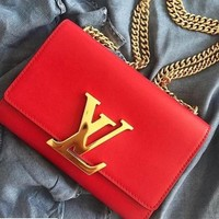 LV Louis Vuitton Women Red Shopping LV Word Crossbody Satchel Shoulder Bag