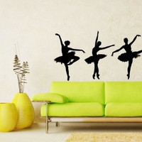 Ballerina Ballet Dancing Wall Vinyl Decals Sticker Home Interior Decor for Any Room Housewares Mural Design Graphic Bedroom Dance Studio Wall Decal (5685)