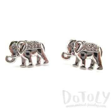 Small Elephant Shaped Stud Earrings in Silver | Animal Jewelry