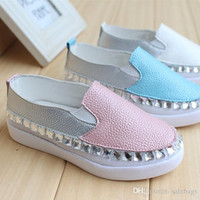 New Arrival Fashion Shoes Girls Genuine Leather Diamond Summer Casual Kids Children Girl's Shoes Princess Shoes Size 26-30 VY0013salebags
