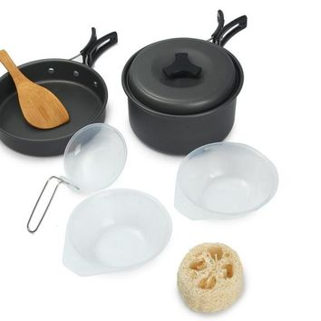 Utility 8pcs Outdoor Cookware Bowl Pot Pan Set For Picnic