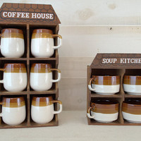 Wood Coffee Cup Rack with Cups, Wall Mounted Cup Holder, Retro Kitchen Storage Rack, Wood Mug Holder, Soup Bowl Rack