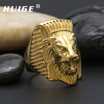 Gold men ring gold filled Lion head design 316L stainless steel men's ring biker men jewelry
