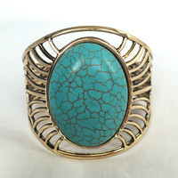 Lee Turquoise Stone Cuff Bangle Bracelet