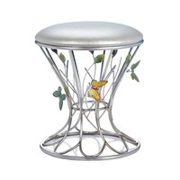 Colorful Butterflies Silver Padded Stool
