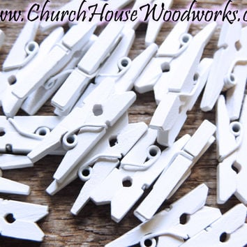 Pack of 100 Mini White Clothespins
