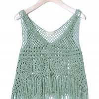 Handknit Mint Fringe Crop Top - New Arrivals - Retro, Indie and Unique Fashion
