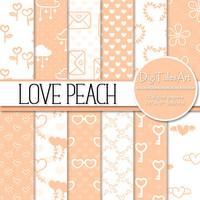 "Peach pink hearts flower digital paper ""Love Peach"", scrapbook paper, heart floral clipart patterns, romantic background, valentine hearts"