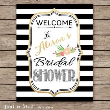 Personalized bridal shower sign, welcome sign, Baby Shower, Wedding, Birthday Party, black and white stripes, gold glitter - DIGITAL