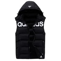 Adidas Fashion Men Hooded Warm Vest Waistcoat Cardigan Jacket Coat (Two Side Wear Reversible) Black