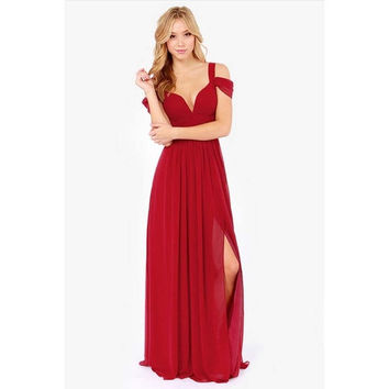 Women's Fashion Summer Sexy sleeveless V-neck off shoulder elegent long Party Dress = 1947032900