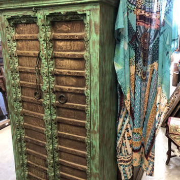 Antique FARMHOUSE Style Armoire Brass Vintage Patina Green Rustic StorageCabinet