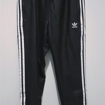 LMFON Adidas Classic Three Stripe Black PU Pants Trousers