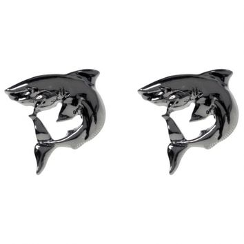 """Shark"" Post Earrings by Sourpuss (Silver)"