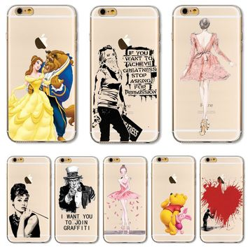 For iPhone7 Soft TPU Cover For Apple iPhone 7 7S Case Cases Phone Shell Hot Sales! Painted Beauty And The Beast Nice