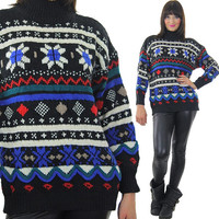 Wool Sweater Vintage 80s Sweater Pullover Sweater Snowflake Sweater Holiday Sweater Ski Sweater Nordic Sweater Large Sweater Knit Sweater