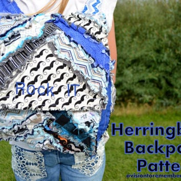 Herringbone Kid Backpack Sewing Pattern, Back to School PDF Emailed