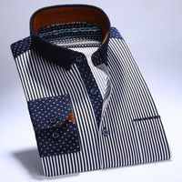 Men's Long Sleeve Corduroy Striped Shirts with Left Chest Pocket Patchwork Collar Slim-fit 100% Cotton Casual Button-Down Shirt