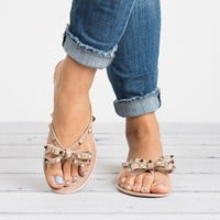 Taupe Bow Studded Jelly Sandals