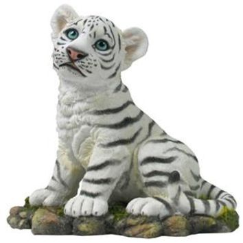 Sitting White Tiger Cub Statue - 8354