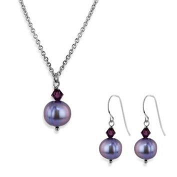 Honora Freshwater Cultured Pearl and Crystal Pendant Necklace and Earring Set in Violet