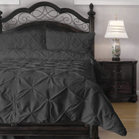 Queen Size 4 Piece Charcoal Microfiber Comforter Set With Pinch Pleat Puckering