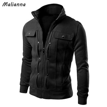 Malianna 2017 New Autumn Winter Men's Long Sleeve Stand Collar Solid Slim Fit Coat Tops Military Jacket Outwear Blazer GMS083