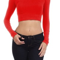 Women's Scoop Neck Long Sleeve Casual Crop Top