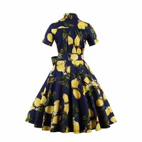 Yellow Lemons Rockabilly Pinup Dress - SM-4X