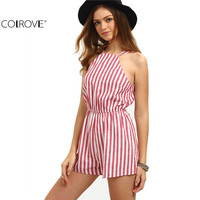 COLROVE Sleeveless Summer Style Beach Rompers Women Jumpsuit Ladies Sexy Vertical Stripe Backless Cutaway Rompers