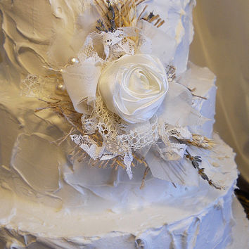 """Wheat, Lavender, Lace & Burlap Cluster Cake Topper Pick. Silk rose is eggshell in color. Measures 5""""."""
