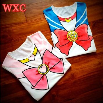 Sailor Moon Shirt Anime Chibimoon Summer Harajuku Shirt Kawaii Printed Women's Clothing 2016 Girls Peplum Tops Tee