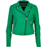 Green zip collar biker jacket
