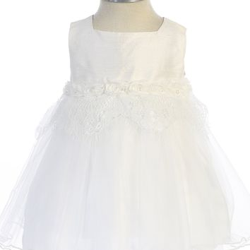 Infant Girls Off-White Silk & Tulle Dress with Pearl Rosettes 6m-24m