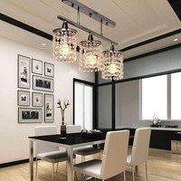 3 Lights Hanging LED k9 Crystal Linear Chandelier with stainless steel Fixture Modern  Ceiling lamp luminarias para sala 90-260V