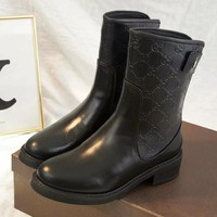 GUCCI Women Fashion Leather Short Boots Shoes