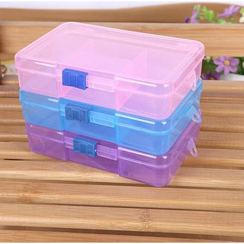 Storage Case Box Holder Container Pills Jewelry Nail Art Tips 5 Grids Boite De Rangement Plastique Transparent #PB