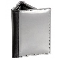 Stewart Stand Stainless Steel Tri-Fold Wallet w/Black Leather Accent