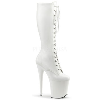 """Flamingo 2023 White Matte 8"""" Heel Front Lace Knee Boot"""
