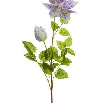 """Amethyst Purple Clematis Fake Flowers - 28"""" Tall"""